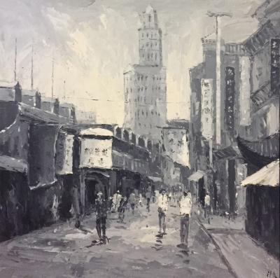 Hu Shen Oil Painting on Canvas Old Shanghai Chinese Street Scene