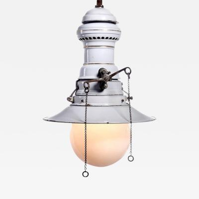 Humphrey Large Early Electrified Porcelain Gas Lamp