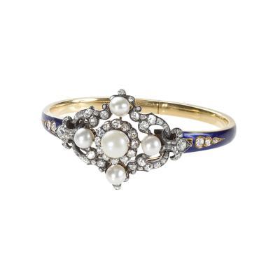 Hunt Roskell Hunt Roskell Antique Diamond Pearl Gold and Enamel Bracelet