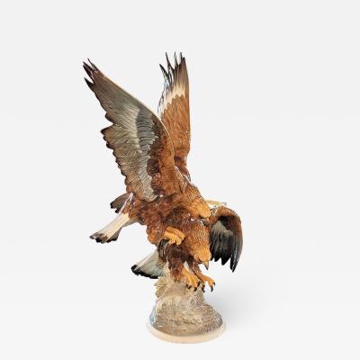 Hutschenreuther 20C Selb German Porcelain Pair of Golden Eagles Sculpture