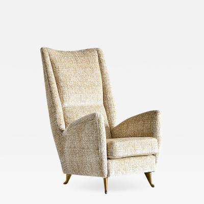 I S A Bergamo ISA High Back Armchair Attributed to Gio Ponti Italy 1950s