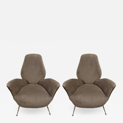 I S A Bergamo Pair of Sculptural ISA Bergamo Italian Mid Century Taupe Lounge Chairs