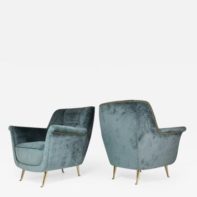I S A Pair of Italian Vintage ISA Bergamo Armchairs 1950s