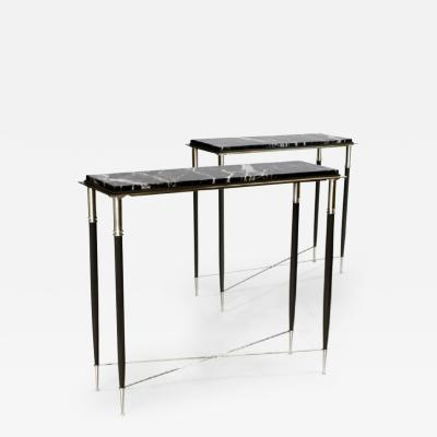 ILIAD Bespoke Pair of French Modernist Style Consoles Inspired by Andre Arbus