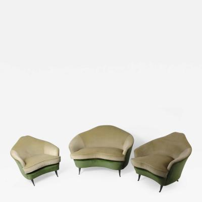 ISA 1950s Small Sofa and Armchairs by ISA Ponte S Pietro