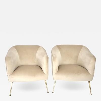 ISA A Pair of Italian Lounge Chairs by Isa Bergamo In Champagne Silk Velvet