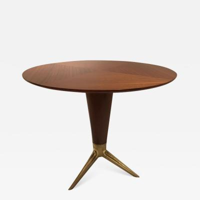 ISA Bergamo I S A Italy Circular Centre Table in Walnut and Brass by I S A Italy circa 1950