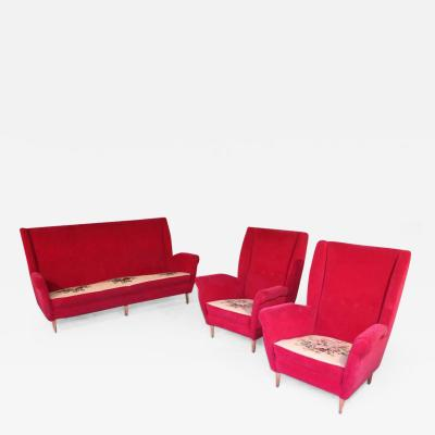 ISA Bergamo I S A Italy Italian Midcentury Sofa and Pair of Lounge Chairs by Gio Ponti for ISA 1955