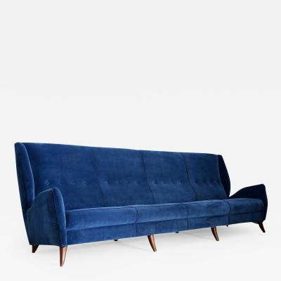 ISA Bergamo I S A Italy MidCentury Sofa By Gio Ponti for Isa Bergamo in blue velvet restored 1950s