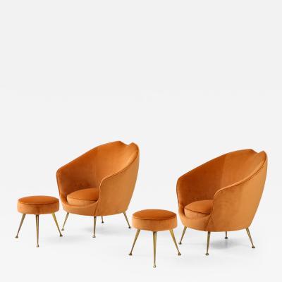 ISA Bergamo I S A Italy Pair of Italian Lounge Chairs and Matching Stools by I S A Bergamo
