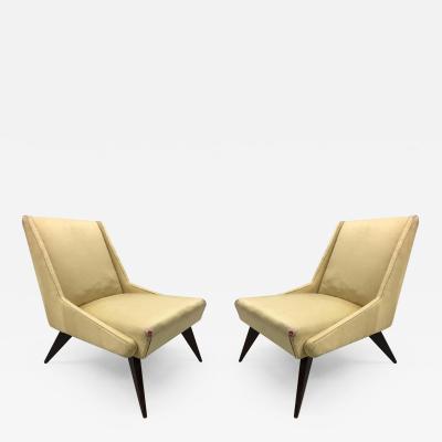 ISA Bergamo I S A Italy Pair of Italian Mid Century Modern Lounge Slipper Chairs by ISA 1950