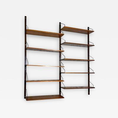 ISA Bergamo I S A Italy Teak double span wall bookcase by ISA Bergamo 1960s