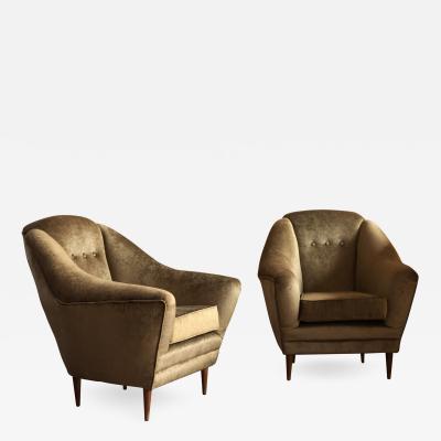 ISA Bergamo I S A Italy Two Armchairs Midcentury Italian Reupholstered in bronze velvet Cotton Velvet