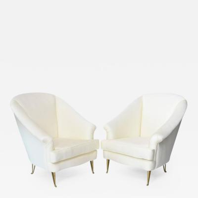 ISA Pair of Italian Modern Club Chairs Made by Isa Attributed to Gio Ponti 1950s