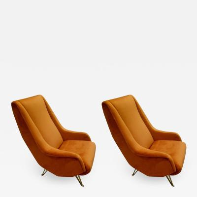 ISA Pair of Midcentury Italian Burnt Orange Tall Lounge Chairs Attributed to ISA