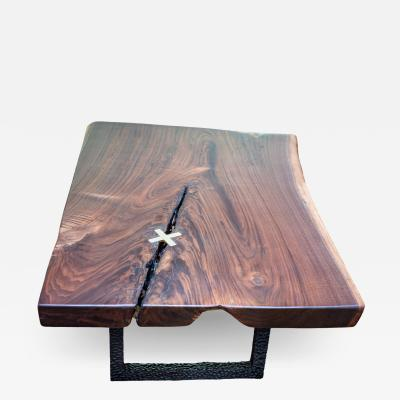 Ian Love Design Black Walnut Coffee Table With Hand Carved Ebonized Legs