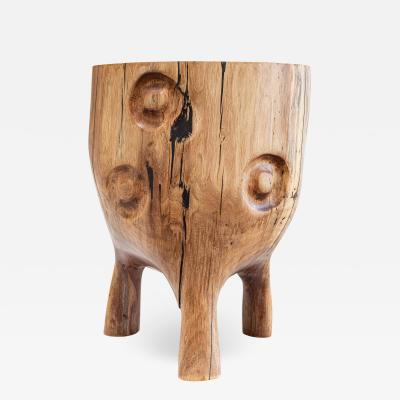 Ian Love Design Black Walnut Stool With Carved Nipple Design