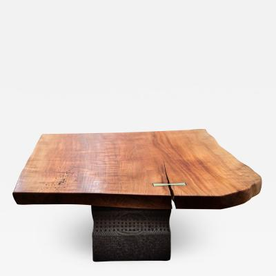 Ian Love Design Cherry Coffee Table With Brass Inlay And Hand Carved Ebonized Pine Based