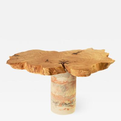 Ian Love Design Curly Maple Side Table With Concrete Base