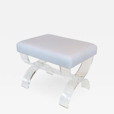 Iconic Design Gallery Custom Made Lucite X form Upholstered Bench