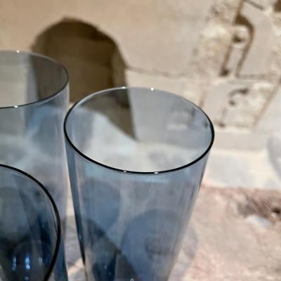 Iittala FINLAND Blue Tall Drink Tumbler Glasses Set of Four by Kaj Franck Iittala 1960s