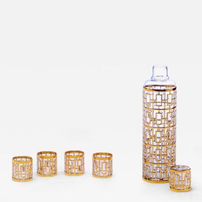 Imperial Glass Company 1960s 22k Gold Shoji Sake Bottle Glasses Set by Imperial Glass Co