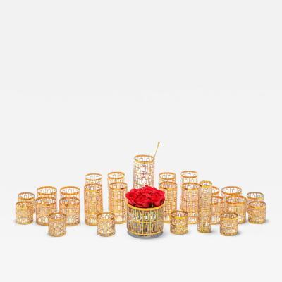 Imperial Glass Company Large Imperial Glass Shoji 22k Gold Handpainted Barware Set circa 1965