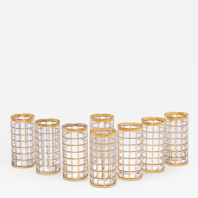 Imperial Glass Company Vintage Imperial Glass Co Toril de Oro Highball Glasses 22 Karat Gold Set of 8