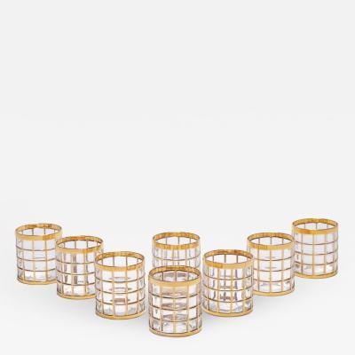 Imperial Glass Company Vintage Imperial Glass Co Toril de Oro Rocks Glasses 22 K Gold 1960s Set of 8