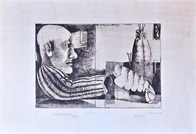 Inanger Man with Lobster Framed Intaglio Etching by Inanger Munich 1973