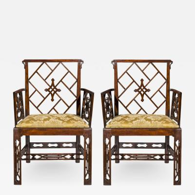 Ince Mayhew 18th Century Pair of Chinoiserie Cockpen Armchairs