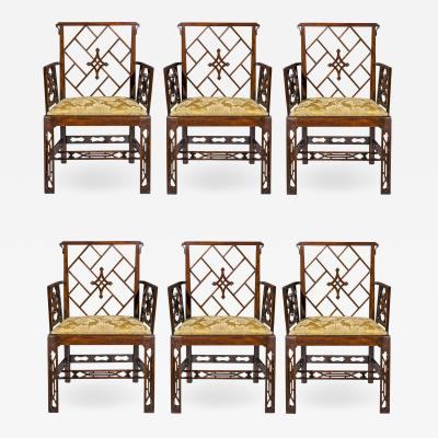 Ince Mayhew Antique Set of Six Chinese Chippendale Armchairs 18th Century England