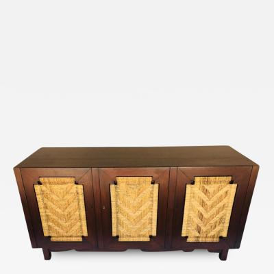 Industria Mueblera Mexico Edmond Spence Mahogany Sideboard Woven Sea Grass Faced Doors Industrial Mueblera