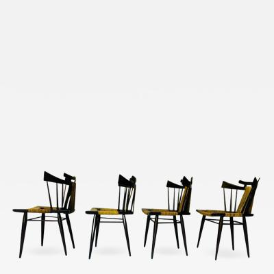 Industria Mueblera Mexico Four Edmond Spence Yucatan Mahogany Side Chairs Woven Sea Grass Seats