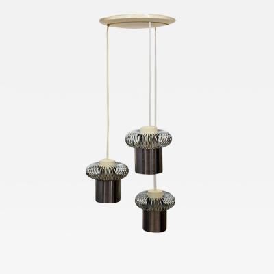 Ingo Maurer 1960s European Chandelier Three Light Hanging Pendant Lamp Silver Spiral Coil