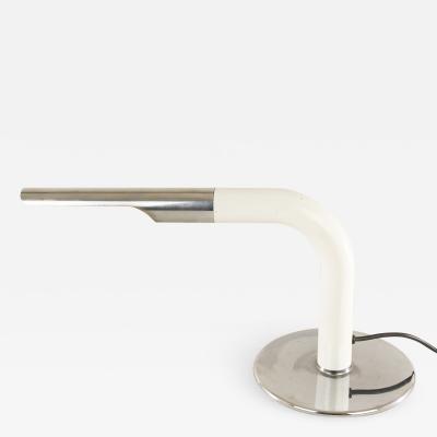 Ingo Maurer Chrome white lacquered table lamp Gulp by Ingo Maurer for Design M 1970s