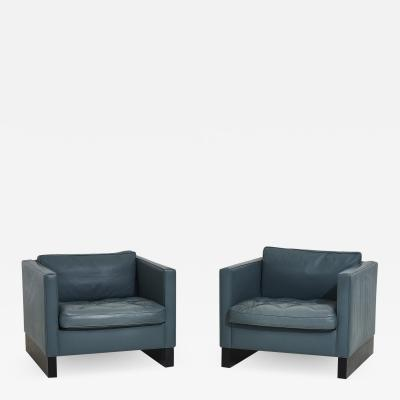 Interiors Crafts Blue Leather Lounge Chairs Ludwig Mies van der Rohe 1980