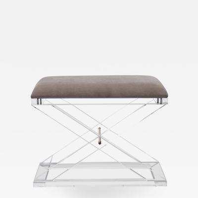 Interlude Home Asher Stool Grey Velvet