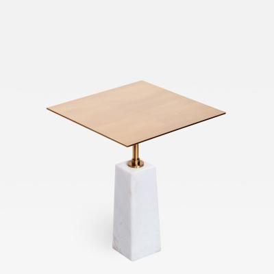 Interlude Home Beck Square Side Table White Antique Brass