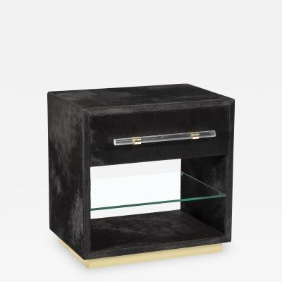 Interlude Home Cassian Bedside Chest Black Brass