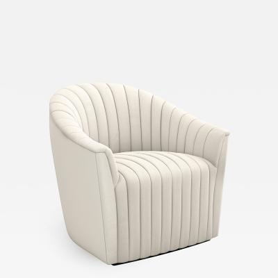 Interlude Home Channel Swivel Chair Pearl