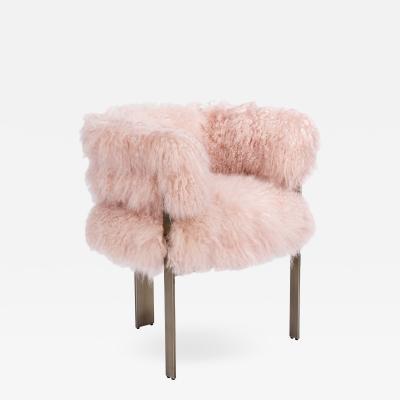 Interlude Home Darcy Chair Blush Sheepskin