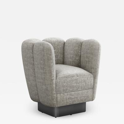 Interlude Home Gallery Swivel Chair Gunmetal Feather