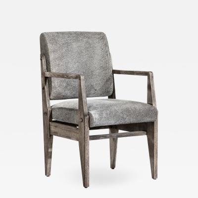 Interlude Home Hale Hide Arm Chair Rustic Grey