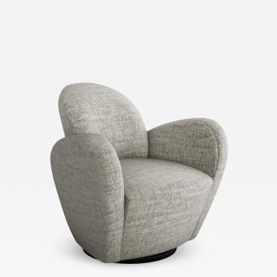 Interlude Home Miami Swivel Chair Feather
