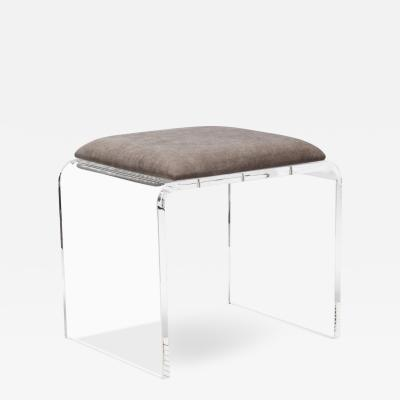 Interlude Home Mira Acrylic Stool Grey Velvet