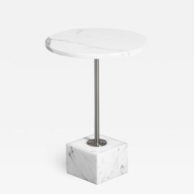 Interlude Home Rian Marble Side Table Arabescato
