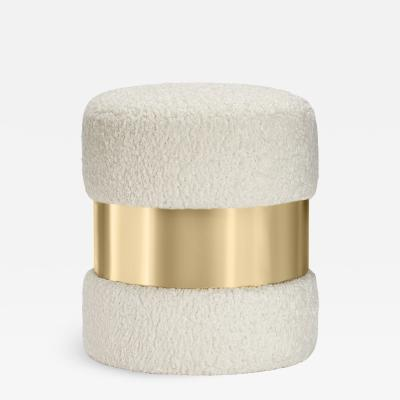 Interlude Home Scarlett Stool Boucle Brass
