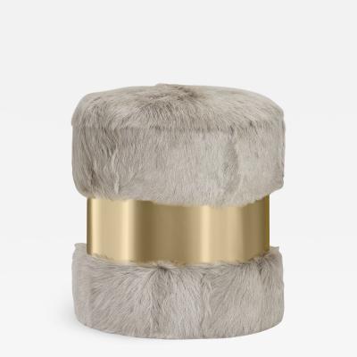 Interlude Home Scarlett Stool Grey Goat Brass