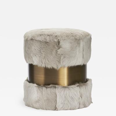 Interlude Home Scarlett Stool Grey Goat Bronze